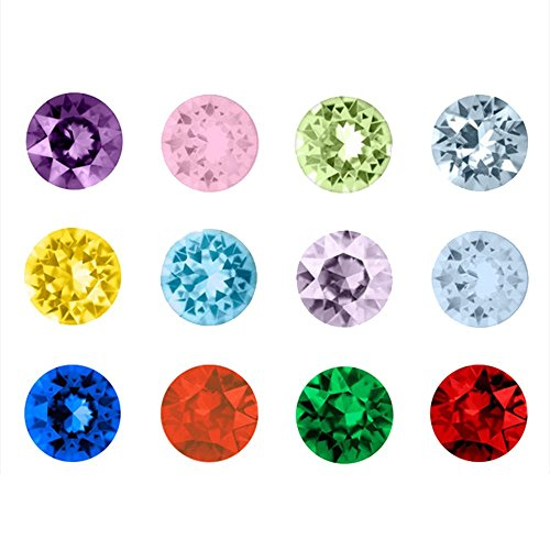Contever® 120 Pcs /Lot Assortiti Mix 12 colori Birthstone Artificiale di Cristallo 5 Millimetri DIY Floating Charm per Vetro Living Memory Locket (Floating sospensione non incluso) - forma rotonda