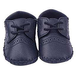 Mosunx Toddler Infant Baby Winter Cute Soft Sole Crib Boots Leather Shoes (13, Navy)