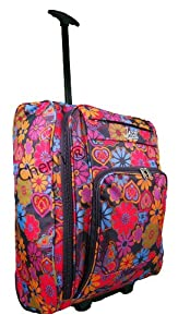Mens Womens On Board 21 Wheeled Suitcase Cabin Carry Case Flight Bag Assorted Colours Plum Butterfly