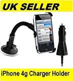 iphone 4 4g car dedicated mount screen cradle holder + car charger for iphone 4 4g, iphone 4 car kit, iphone 4 car accessories, iphone 4 car charger and holder in car technology 