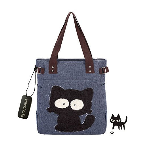 Cyber Monday Clearance Sale-Valentoria Cute Fat Cat Design Multifunction Women's Canvas Zipper Closure Handbag Shoulder Lunch Tote Bag with Large Capacity Best Gifts for Teen Girls (Blue)