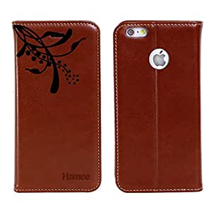 Hamee Original Premium PU Leather Flip Diary Card Pocket Designer Case Cover Stand with Screen Film Protector for iPhone 6 / 6s (Brown / Ethnic Flower 2)