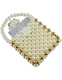 Saamarth Impex Pearl With Golden Color Beads Beaded Pocket Base Mini Coin Pouch SI-3411