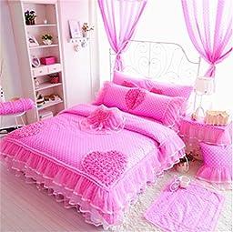Auvoau Home Textile,Luxury Girls Pink Lace Ruffle Bedding Sets,Romantic Princess Wedding Bedding Set,Lace Girl Bedding Set, Girls Fairy Bedding Sets 7PC (Twin, Pink)