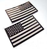 簡単 装着 星条旗 パッチ サバゲー IR 機能 付き 左右 2枚 セット US ブラック
