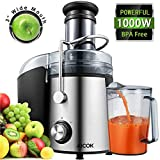 Juicer Juice Extractor Aicok Juicer Machine Wide Mouth 76MM 1000W Centrifugal Juicer Whole Fruit and Vegetable Juicer with Juice Jug and Cleaning Brush, Anti-drip Function (Color: Silver-black)