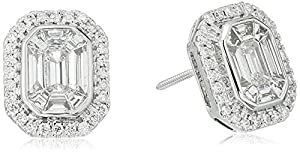 14k White Gold Special Emerald Cut with Side Stone Composite Solitaire Earrings (1cttw, H-I Color, I1-I2 Clarity)