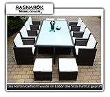 Gartenmöbel PolyRattan Essgruppe Tisch mit 8 Stühlen & 4 Hocker