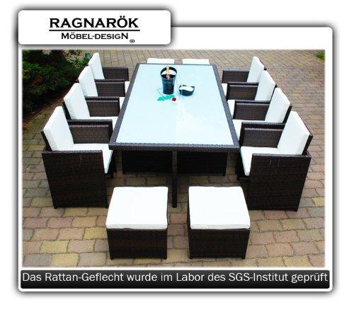 Gartenmbel-PolyRattan-Essgruppe-Tisch-mit-8-Sthlen-4-Hocker-DEUTSCHE-MARKE-EIGNENE-PRODUKTION-Garten-Mbel-incl-Glas-und-Sitzkissen-Ragnark-Mbeldesign-braun