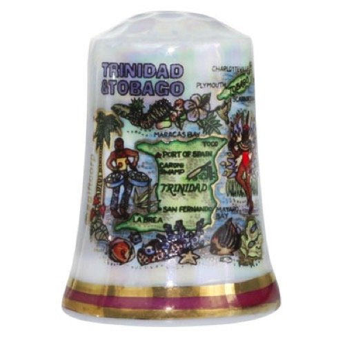 Cheapest Prices! Trinidad & Tobago Caribbean Map Pearl Souvenir Collectible Thimble agc