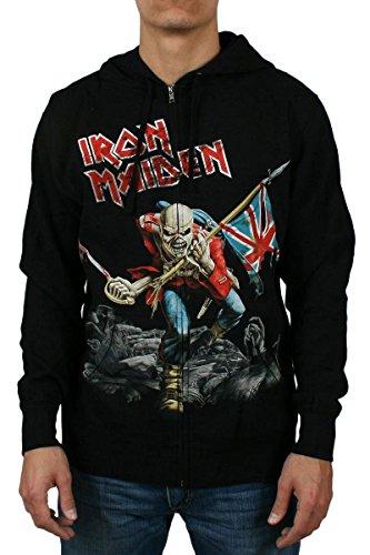 Iron Maiden Trooper, per adulti, Good Ideas 934-Felpa con cappuccio e Zip, con cappuccio e Zip, colore: nero nero Medium
