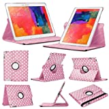 Stuff4 Polka Dot Designed Case with 360 Degree Rotating Swivel Action and Screen Protector/Stylus Touch Pen for 10.1 inch Samsung Galaxy Tab Pro T520/T525 - Light Pink/White