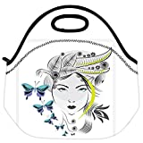 Snoogg Abstract Woman With Elegant Hair Style And Blue Butterflies Travel Outdoor Carry Lunch Bag Picnic Tote...