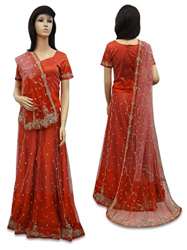 indian weinlese braut lehenga set net wulstige stoff sarong orange hochzeitskleid. Black Bedroom Furniture Sets. Home Design Ideas