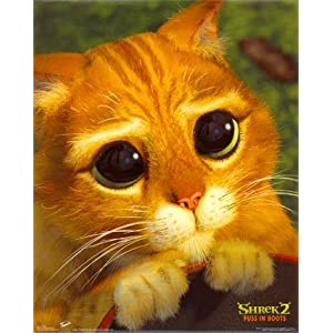 Shrek 2 Movie Poster Puss in Boots Cute Cat Face