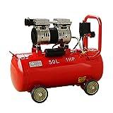 静音コンプレッサー (赤) 1馬力(0.75kW) 静音仕様(58db) オイルレス 横型 50L メスカプラ付き