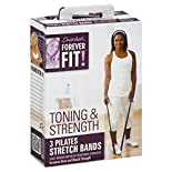 Forever Fit Pilates Stretch Bands, Toning & Strength, 3 bands