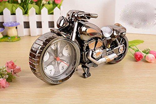 おしゃれ ! かわいい 目覚まし時計 レトロ バイク メタリック風 置時計 アラーム katsuma65072