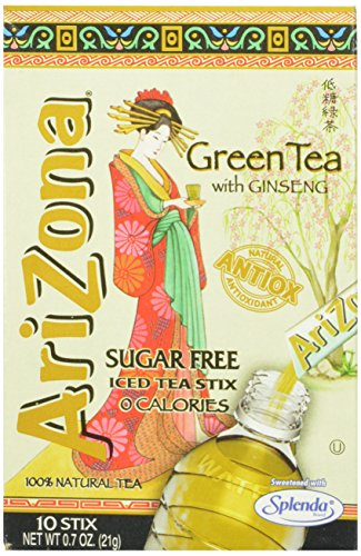 AriZona Green Tea with Ginseng Sugar Free Iced Tea Stix, 10 Count, (Pack of 6) (Arizona Ice Tea Stix compare prices)