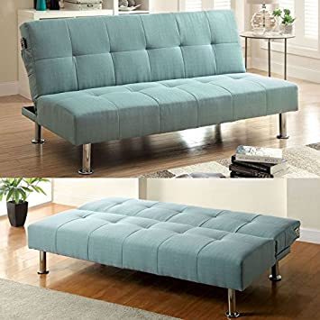 Dewey Contemporary Style Blue Fabric Finish Futon Sofa