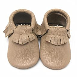 Sayoyo Baby Tassels Soft Sole Leather Infant Toddler Prewalker Shoes (0-6 months, Tan)