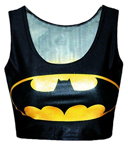 erdbeerloft - Damen Batman Kurzes Tank Top Shirt Bedruckt Print, Größe S-L S-M, Mehrfarbig