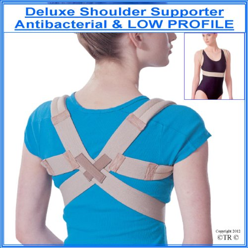 "DELUXE UNISEX SHOULDER SUPPORT POSTURE BRACE, Antibacterial & LOW PROFILE.Size = SMALL / MEDIUM (Worldwide P&P only 99p) all other sizes available, just type into the search bar above "" prolineonline"" will show all other sizes and items available."