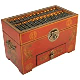 Vintage Chinese Wooden Bead Arithmetic Abacus W. Storage Compartments