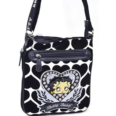 Betty Boop Messenger Bag W/ Velvet Heart Montage & Rhinestones - White/Black