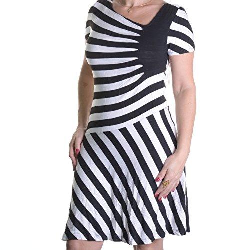 Eci Ruched Striped A-Line Dress Size M