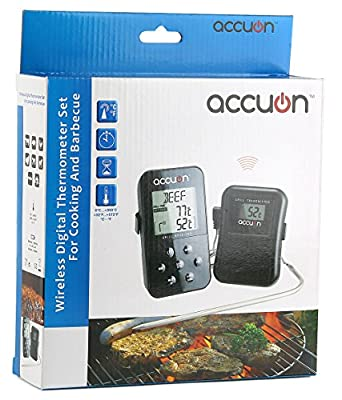 Accuon Wireless Digital Thermometer Set - Dual Probe - Remote BBQ / Smoker / Grill / Oven / Meat / Thermometer - Monitor Your Food From up to 300 Feet Away