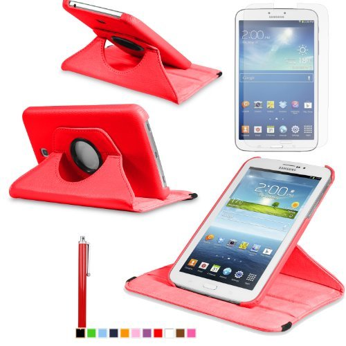 360 Degree Rotating Cover Case for Samsung Galaxy Tab 3 7.0 SM-T210 / SM-T217 With Screen Protector and Stylus Galaxy tab 3 7 case From Sheath TM [ Does not Fit Galaxy Tab 3 Lite SM-T110 ] (Red)