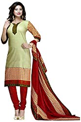D WINE Women's Cotton Unstitched Salwar Suit (Green and Maroon)