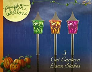 Set of 3 Black Cat Lantern Halloween Multi Color LED Pathway Markers