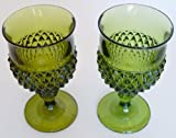 Set of 2 Vintage Indiana Glass Green Diamond Point Goblet Water Glasses 6.5
