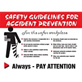 """Accuform Signs PST211 Safety Awareness Poster, """"SAFETY GUIDELINES FOR ACCIDENT PREVENTION"""", 18"""" Length x 24"""" Width, Laminated Flexible Plastic"""