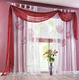 """Uphome 1pc Elegance Solid Pattern Voile Sheer Window Scarf Valance Curtain for Living Room/Bedroom(59""""W x 216""""L, Wine Red)"""