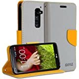 LG G2 Case, GMYLE(R) Wallet Case Classic for LG G2 - Cross Pattern PU Leather Protective Folio Slim Fit Wallet Stand Case Cover (With 2 card slots and money pocket) (Silver Grey & Orange)