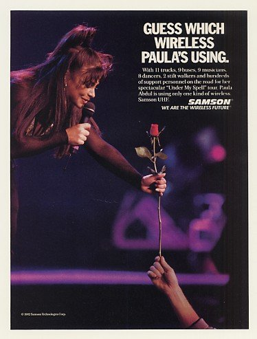 1992 Paula Abdul Samson Wireless Microphone Photo Print Ad (47946)