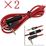 2packs Replacement 3.5mm Right Angle AUX Audio Cable Cord for Dr Dre Headphones Bose Monster Solo Beats Studio Speakers with Mic 1.2M Red