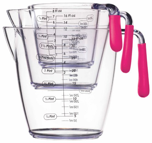 Kitchen Craft 3-Piece Colourworks  Acrylic Measuring Jug Set, Pink