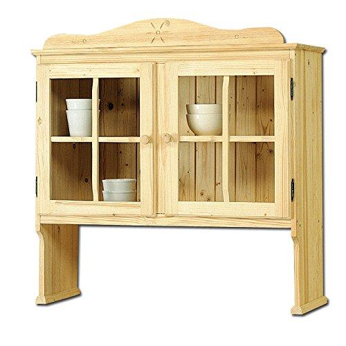 Sopralzo vetrina country in legno massello grezzo in abete 102x36x103