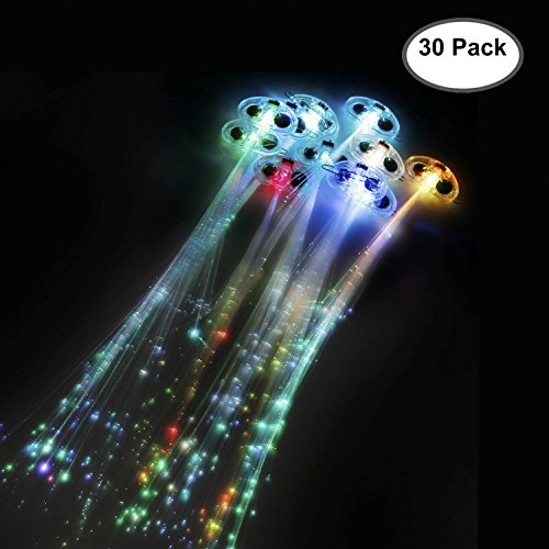 Etekcity 30 Pack LED Fiber Optic Lights up Flashing Hair Barrettes - Party Supplies