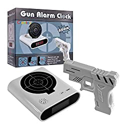 Target Alarm Clock With Gun, Infrared Laser and Realistic Sound Effects -White- By Creatov®