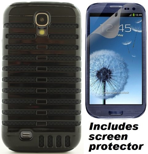 Black Retro Elvis Style Microphone Cover Case & Screen Protector For Samsung Galaxy S4 S Iv