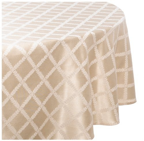 Lenox Laurel Leaf 70 By 104 Inch Oval Tablecloth, Ivory