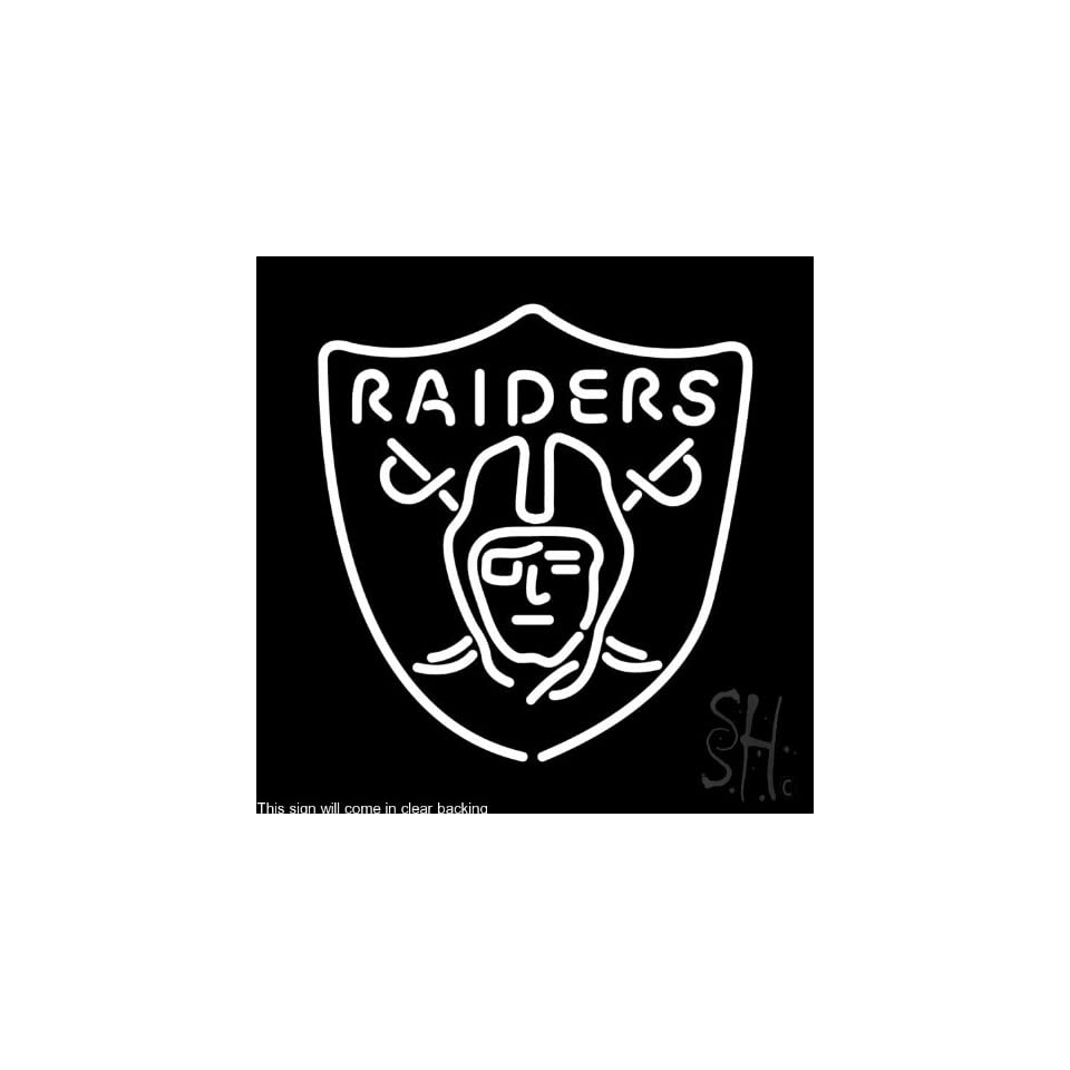 """Oakland Raiders NFL Clear Backing Neon Sign 24"""" Tall x 24"""" Wide  Business And Store Signs"""