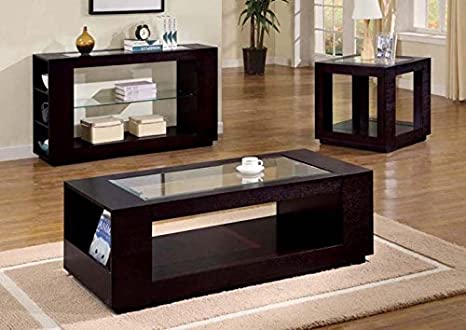 CAPPUCCINO VENEER COCKTAIL TABLE WITH GLASS INSERT (SIZE: 52L X 24W X 18H)