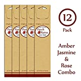 Panchratan Perfumed Charcoal Incense Sticks ( Pack Of 12, 23cms, Amber, Jasmine And Rose Fragrance )