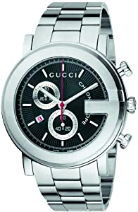 Gucci Men's YA101309 G-Chrono Steel Black Guilloche Dial Watch